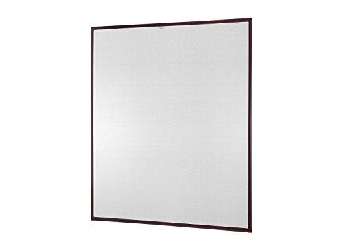 Insektenschutz-Fenster Basic 100 x 120 cm in Weiß, Braun oder Anthrazit als Bausatz auf Maß geschnitten oder komplett aufgebaut, Fliegengitter mit Alurahmen und hochwertigem Gewebe in Schwarz