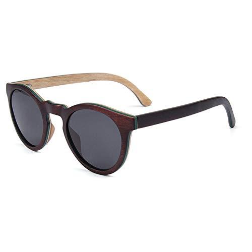 LFFSPORT Holz-Sonnenbrille polarisiert, Sport-Sonnenbrille für Männer, Frauen, Retro-Brille runden Rahmen zum Radfahren Fahren Baseball Angeln Laufen Golf,A