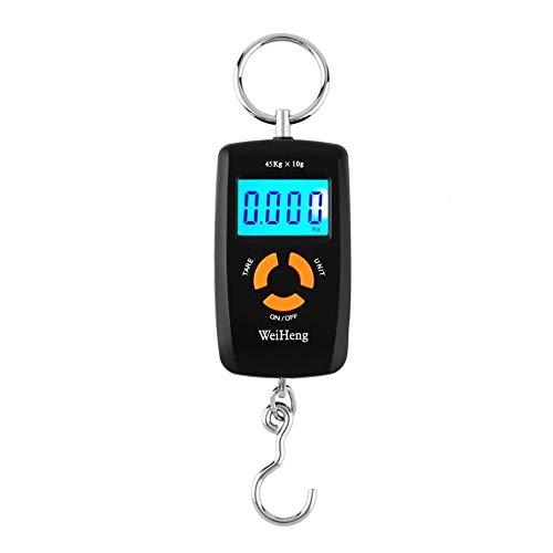 RoadRoma WH-A05L Bilancia Elettronica Digitale Portatile LCD 10-45kg 10g per Pesca Bagagli-Nero