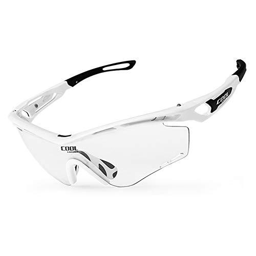 CoURTerzsl Fahrrad-Sonnenbrille mit wechselnden Farben, modisch, klare Sicht, UV-beständig, Radbrille, weiß