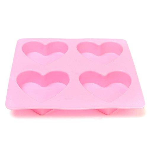 Westeng Silikon-Form zum Backen und Basteln 4 Herze Muster Kuchen Schimmel DIY für Ton Kekse Eiswürfel Süßigkeiten Schokolade Kuchen-Deko