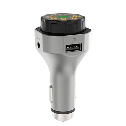 Bluetooth FM-Transmitter, drahtloser FM-Transmitter fürs Auto, Universal-Autoladegerät mit USB-Ladeanschluss, Freisprechen, TF-Karte, USB-Flash-Laufwerk, Grau (Color : -, Size : -) Universal Fm-transmitter