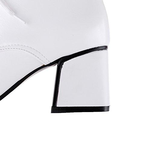 VogueZone009 Femme Lacet Pointu à Talon Haut Artificiel Haut Bas Bottes Blanc