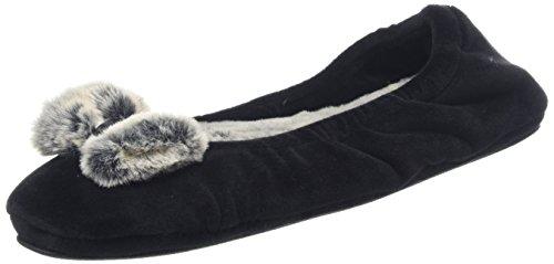 Dearfoams Ladies Velor Ballerina Con Sneaker Pile Nero Smerigliato (nero)