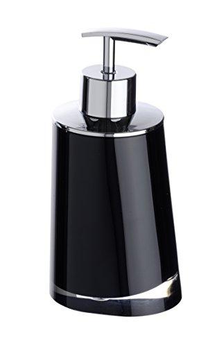 WENKO 20253100 Seifenspender Paradise Black, Fassungsvermögen 0.24 L, Kunststoff - Acryl, 8 x 16.3 x 6.6 cm, Schwarz