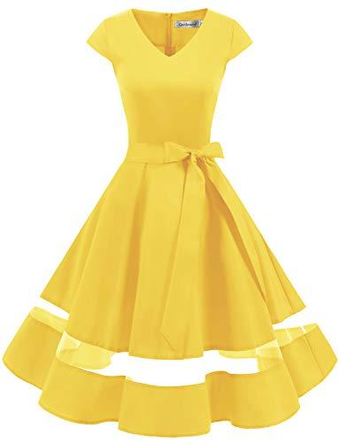 Gardenwed 1950er Vintage Retro Cocktailkleid Cap Sleeves Rockabilly Kleider Damen Schwingen Petticoat Faltenrock Yellow 2XL - Kleider Gelb Damen