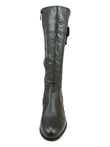 Stivali donna, con piccolo ombelico da 4 cm, stabile Nero (nero)