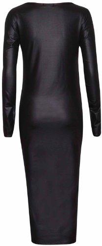 Purple Hanger - Robe Moulante Extensible Mi Longue Faux Cuir PU Effet Mouillé Col Rond Manches Longues - Grandes Tailles Femmes Noir