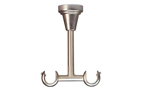 Deckenträger 2-läufig aus Metall für Gardinenstangen in Stahl Silber