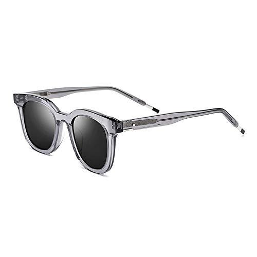 Lxc Platte Fahren Brille Männlich Polarisierte Sonnenbrille Weiblich Quadratisch Grau Großen Rahmen Graue Linse UV400-Schutz Zeige Temperament