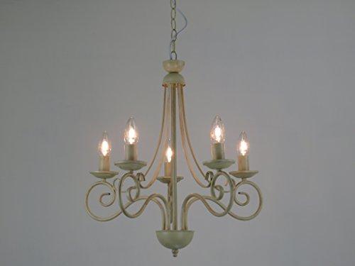 Diana 5l lampadario fiammingo classico rustico country avorio 5 luci diamantlux