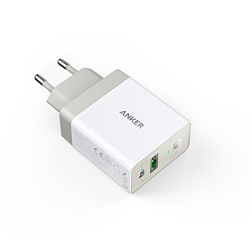 Anker PowerPort+ 1 Quick Charge 3.0 18W USB Wand Ladegerät mit Power IQ für Galaxy S7 / S6 / Edge / Plus, Note 5 / 4, LG G4, HTC One A9 / M9, Nexus 6, iPhone 7 6 5, iPad und weitere (Weiß) (18 Watt-usb-ladegerät)