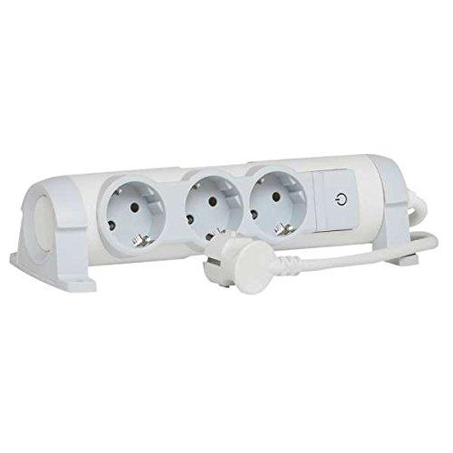 drehbare Steckdosenleiste mit Kontroll-Schalter EIN/AUS und LED-Beleuchtung, 3 Steckdosen (3-fach); zur Befestigung an Wand und Tisch