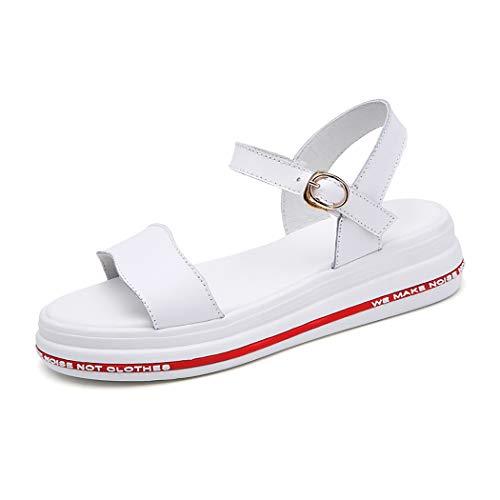 Mzq-yq Women Summer Beach Boho Sandal Summer Walking Leather High Heel Platform Wide Fit Peep Toe Slingback Outdoor Schuhe,White,38 - Wide High Heels