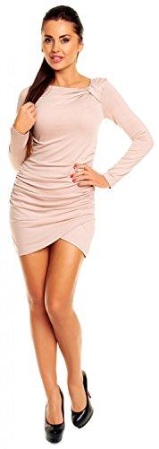 Zeta Ville- donna - miniabito in jersey - top tunica vestito manica lunga - 941z Ecru