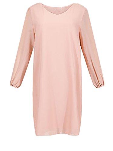 Sommerkleider Chiffonkleid Damen Kurz Langarm Ärmel Geöffnete Gabel Sommer Cocktailkleid Casual Schulterfrei V Ausschnitt Freizeitkleid Pink