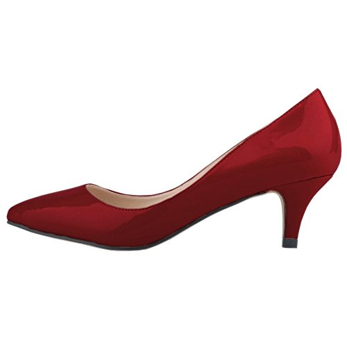 EKS - Scarpe con Tacco Donna Rosso (Wein Rot-Lackleder)