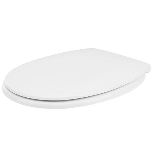 WC Sitz Toilettendeckel mit doppelter Absenkautomatik Klodeckel ABS Scharniere Toilettensitz Duroplast Montagematerial