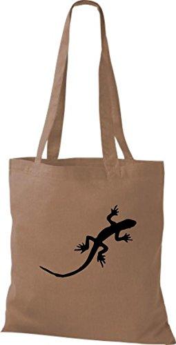 ShirtInStyle Stoffbeutel Gecko Echse Leguan Baumwolltasche Beutel, diverse Farbe caramel