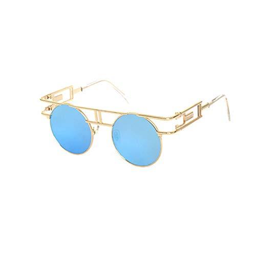 Vintage Runde Gothic Steampunk Sonnenbrille Männer Frauen Unisex einzigartige Metall Rahmen Spiegel HD Brillen Retro Schattierungen,A