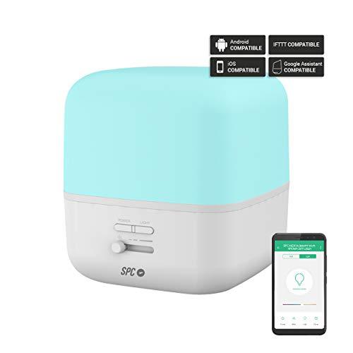 SPC Nerta- Difusor de Aromas, Humidificador, Purificador de Aire y Lámpara de Noche Smart Wi-Fi (400Ml, 11-26 Horas de duración, 7 Colores LED, Control Remoto Mediante App)