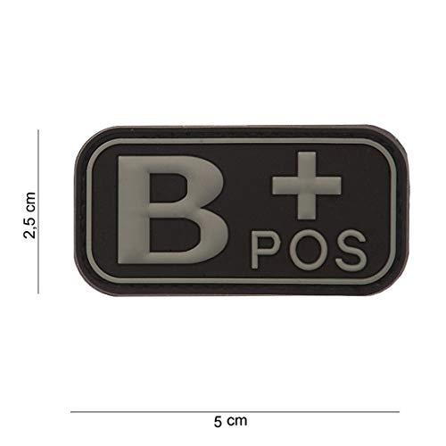 Tactical Attack Blood Type B+ Positive grau Softair Sniper PVC Patch Logo Klett inkl gegenseite zum aufnähen Paintball Airsoft Abzeichen Fun Outdoor Freizeit - Blood Type Patches
