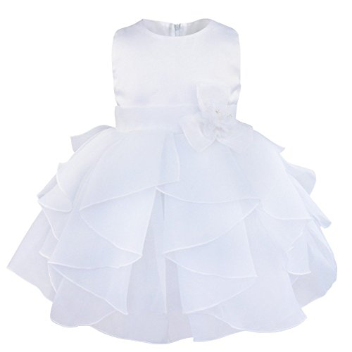 Tiaobug Mädchen Baby Prinzessin Kleid Partykleid Festkleid Taufkleid Geburtstag 68 74 80 86 92 98 Weiß 74-80 (Herstellergröße:70)