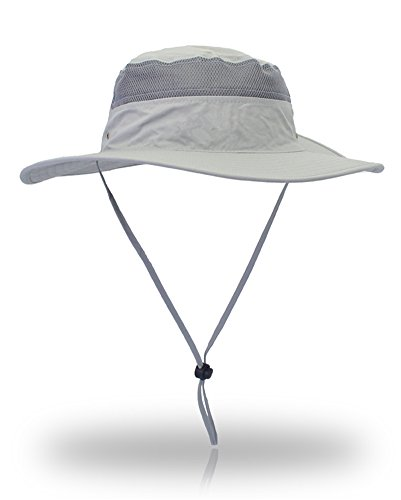 Saoirse.Hats Men's Summer Outdoor Sun Hat UV Protection Fishing Hat Unisex Foldable Breathable Hiking Hat Adult Size 60 (Hellgrau)