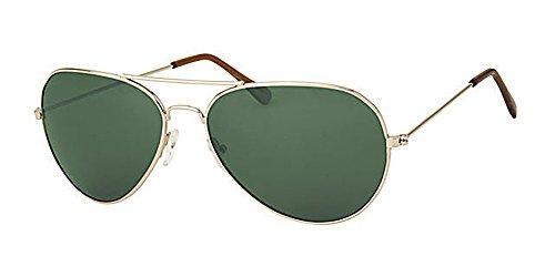 Eyewear World Lunettes de soleil d'aviateur en métal Unisexe - - Gold Metal Frame / Dark Green Lens, Standard Adult Size