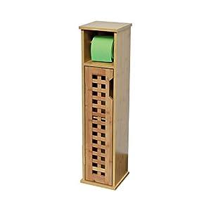 Tendance 2en 1: mueble reserva y portarrollos papel WC (bambú)–1puerta + 1estante interior–Aspect exótico–Gamme Koh Lanta