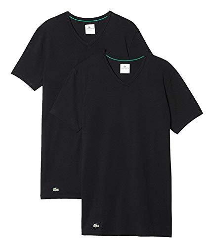 Lacoste Herren T-Shirts Unterhemden V-Neck im 2er Pack 148322 (schwarz/schwarz, S)