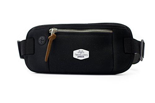 Traveller´s Garden Flache Hüfttasche Bauchtasche mit RFID Blocker für Damen & Herren - enganliegend und wasserabweisend - Geldgürtel zum Sport, Reisen und Joggen, Money-Belt, schwarz