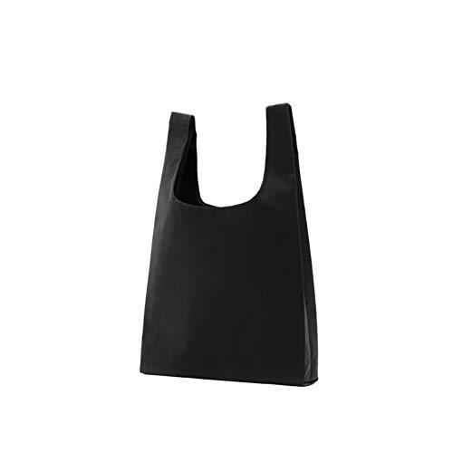 ZHONGYU Tragbare Eco-Grifftasche mit Griffen, faltbar, wiederverwendbar, langlebig, Starkes Nylon, einfarbig Einkaufstasche, Supermarkt, Heimgebrauch, 1 Stück, Oxfordgewebe, Schwarz, 40 * 50 * 60cm (Nylon Wiederverwendbare Einkaufstaschen)