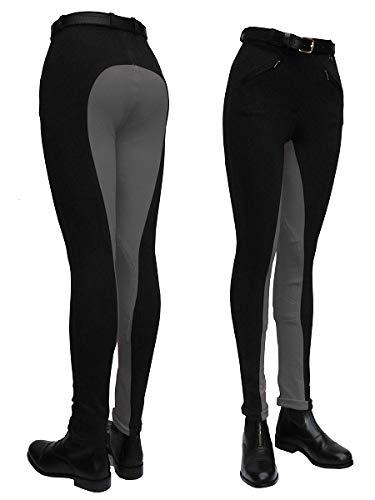 Gallop Two Tone Pantalon d'équitation-Femme-Multicolore (noir/gris)-Taille 28
