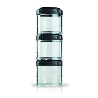 BlenderBottle GoStak Behälter zum Aufbewahren von Protein, Eiweiß, Pulver, Vitaminen & mehr- 4Pak 40ml (4x40ml) - schwarz