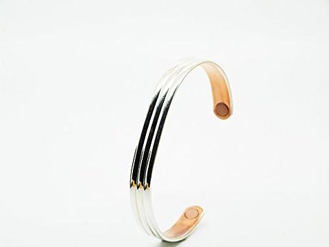 Armband Kupfer magnetisch Klassische, silberfarben–für Damen und Herren. Größe sehr große (17,8cm) für Handgelenk 19,0cm
