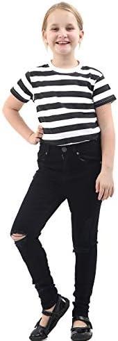 Denim Desire Pantalones de mezclilla ajustados y desgastados para niñas de 7 a 13 años