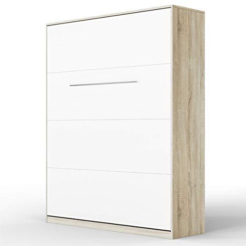Schrankbett SMARTBett Klappbett Wandbett Gästebett 160x200 Eiche Sonoma / Front Weiß