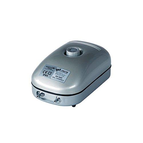 Hailea ACO9602 d'Aria regolabile-432 l/h 2 uscite Output 4 mm Pompa d\'Aria Regolabile, Nero, 13x8x20 cm