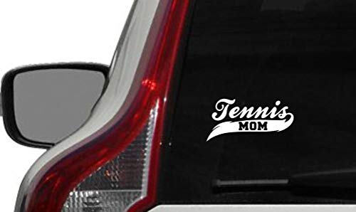 Tennis Mom Banner Car Vinyl Sticker Decal Bumper Sticker for Auto Cars Trucks Windshield Custom Walls Windows Ipad MacBook Laptop and More (White)