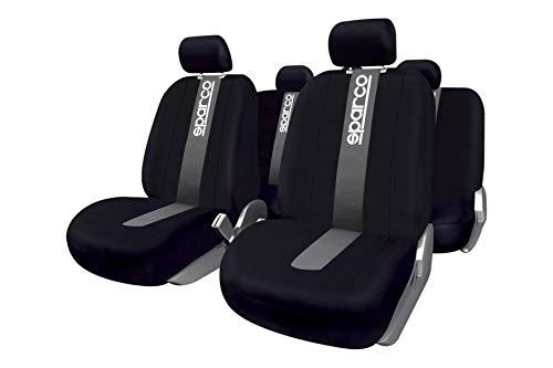 SPARCO SPC1012 Set coprisedili per Auto in 11 Pezzi Classic Nero/Grigio, Set di 11