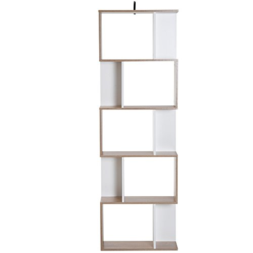 homcom Libreria da Muro Moderna 5 Ripiani in Legno Bianco, 60x24x1184.5cm