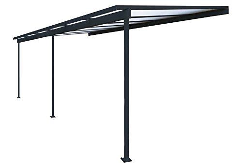 Pergola en aluminium Top Prix adossée toiture en polycarbonate 10 mm avec gouttière - Gris - 6x3m
