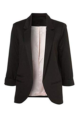 Tailleur donna elegante business ufficio slim fit blazer aperto a forcella moda parigine moda stile puro colore bavero maniche lunghe giacca da tailleur coat (color : schwarz, size : 2xl)