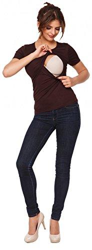 Happy Mama. Femme T-shirt de maternité allaitement double couches col rond. 991p Chocolat