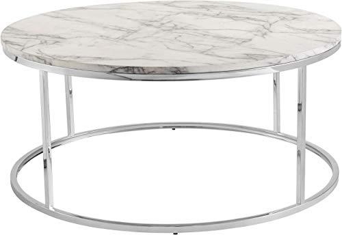 Loft24 A/S Couchtisch Kaffeetisch Beistelltisch MDF Metall Gestell runde Tischplatte Wohnzimmer marmorfarben/Chrom (Ø100 x 45 cm) -