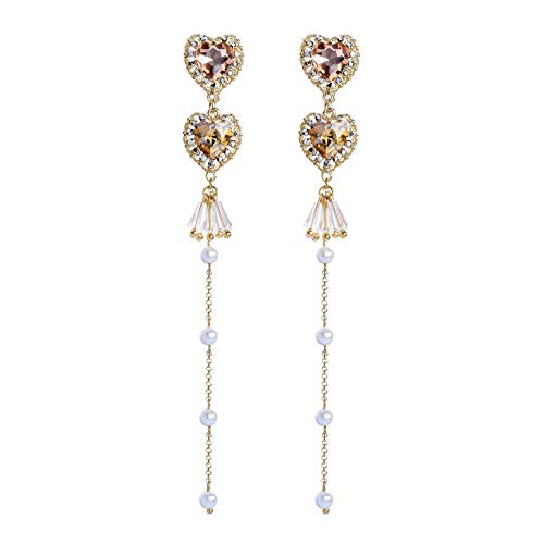 ZHWM Ohrringe Ohrstecker Ohrhänger Champagner Glas Kristall Herz Ohrringe Für Frauen Trendy Lange Imitation Perle Kette Ohrringe Schmuck Brincos