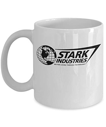 Stark Industries Coffee Mug Cup (White) 11oz Better Living Industries Iron Man Gifts Accessories Merchandise Shirt Sticker Decal Art Decor -