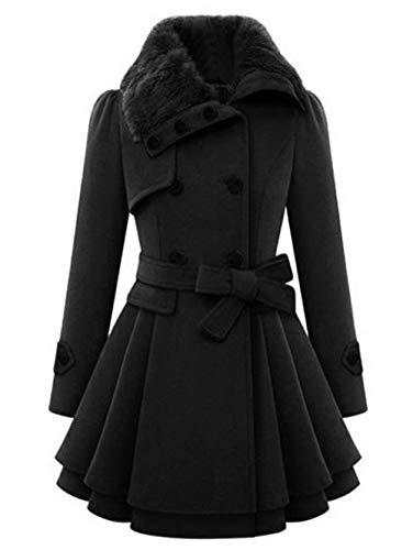 Legere Kleidung Zweireihiger Umlegekragen-Mantel Plus Size Lace Insert Plaid Zip Fly Coat Offene lange Blazer Damen Frauen Angestellte (Color : BLACK-2XL) - - Knopf-manschette-wolle Blazer