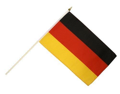 GYD 1Stk.WM 2018 Flagge Deutschland Fanartikel 2018 Weltmeisterschafts - XL Hand - Flagge 30×45cm mit 60cm Stab Stockflagge Deutschland 30*45 cm Fahne Flagge (60 Stab)